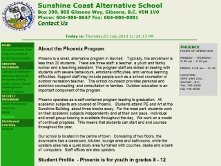 Sunshine Coast Alternative School  Phoenix Program