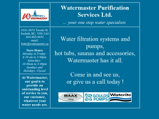 Watermaster Purification Services
