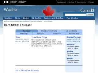 Haro Strait Marine Forecast