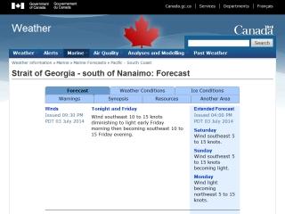 Georgia Strait Marine Forecast