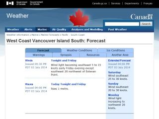 West Vancouver Island Marine Forecast