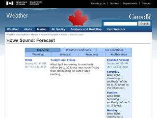 Howe Sound Marine Forecast