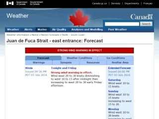 Juan de Fuca Strait Forecast